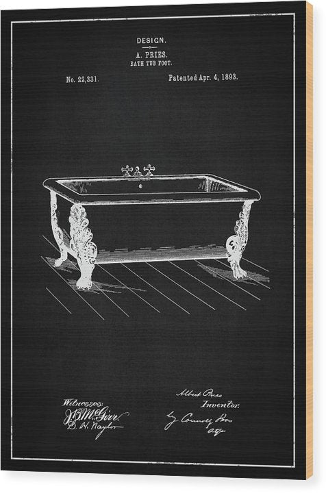 Vintage Clawfoot Bathtub Patent, 1893 - Wood Print from Wallasso - The Wall Art Superstore