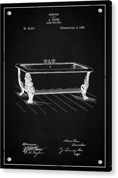 Vintage Clawfoot Bathtub Patent, 1893 - Acrylic Print from Wallasso - The Wall Art Superstore