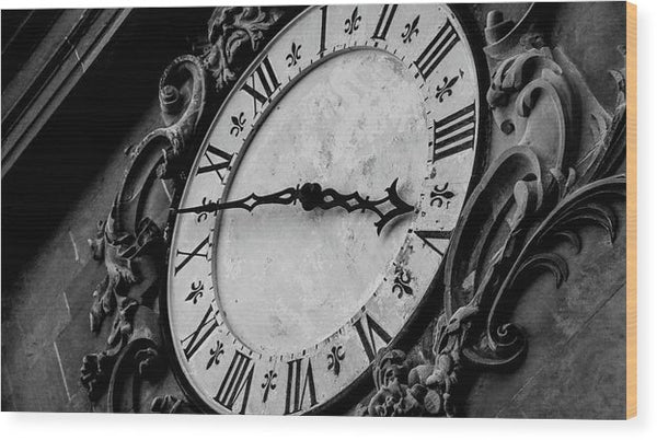 Vintage Clock Face On Tower - Wood Print from Wallasso - The Wall Art Superstore
