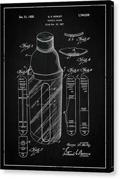 Vintage Cocktail Shaker Patent, 1930 - Canvas Print from Wallasso - The Wall Art Superstore