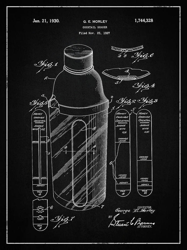 Vintage Cocktail Shaker Patent, 1930 - Art Print from Wallasso - The Wall Art Superstore