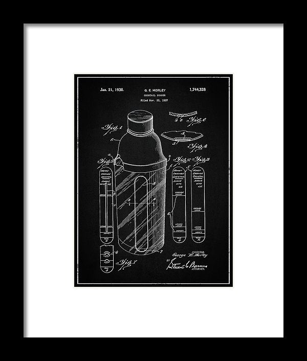 Vintage Cocktail Shaker Patent, 1930 - Framed Print from Wallasso - The Wall Art Superstore