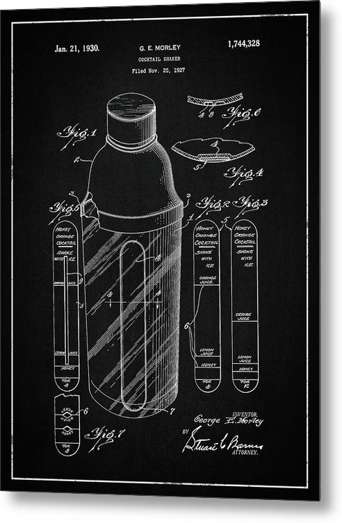 Vintage Cocktail Shaker Patent, 1930 - Metal Print from Wallasso - The Wall Art Superstore
