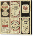 Vintage Coffee Label Designs - Canvas Print from Wallasso - The Wall Art Superstore