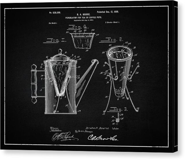 Vintage Coffee Percolator Patent, 1899 - Canvas Print from Wallasso - The Wall Art Superstore