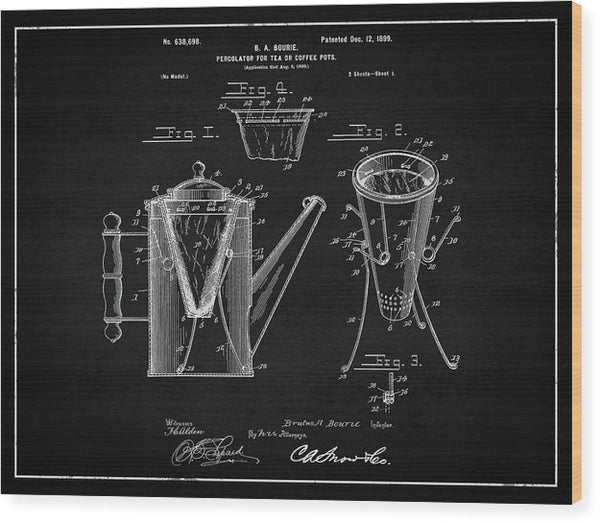 Vintage Coffee Percolator Patent, 1899 - Wood Print from Wallasso - The Wall Art Superstore