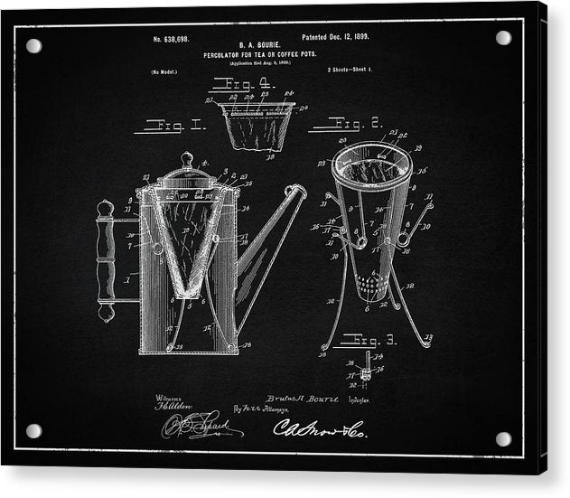 Vintage Coffee Percolator Patent, 1899 - Acrylic Print from Wallasso - The Wall Art Superstore