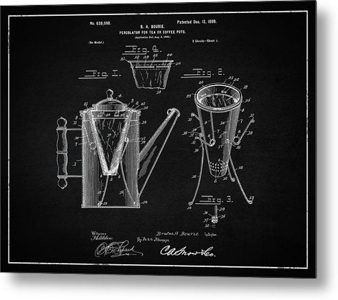 Vintage Coffee Percolator Patent, 1899 - Metal Print from Wallasso - The Wall Art Superstore