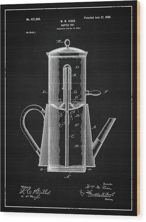 Vintage Coffee Pot Patent, 1899 - Wood Print from Wallasso - The Wall Art Superstore