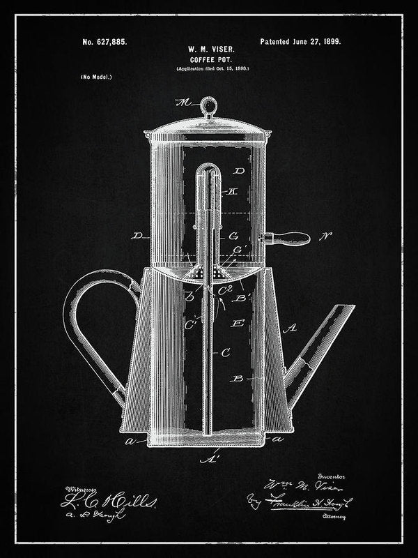 Vintage Coffee Pot Patent, 1899 - Art Print from Wallasso - The Wall Art Superstore