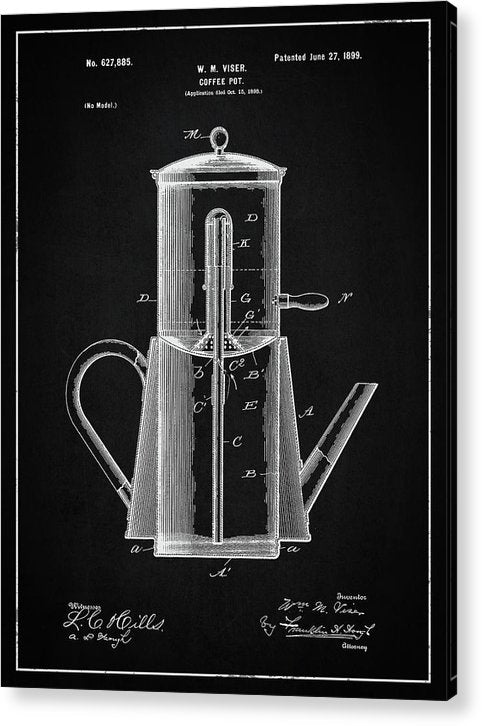 Vintage Coffee Pot Patent, 1899 - Acrylic Print from Wallasso - The Wall Art Superstore