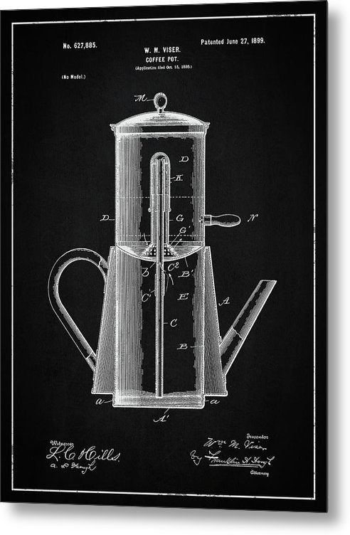 Vintage Coffee Pot Patent, 1899 - Metal Print from Wallasso - The Wall Art Superstore