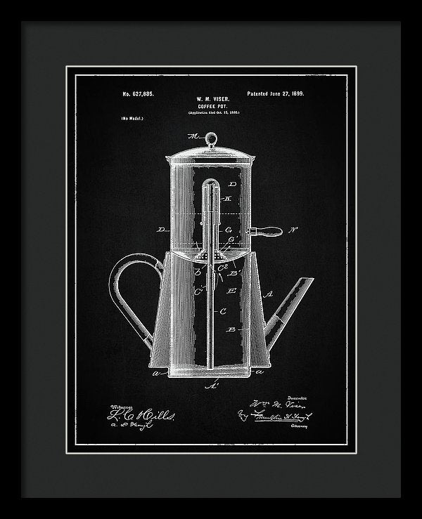 Vintage Coffee Pot Patent, 1899 - Framed Print from Wallasso - The Wall Art Superstore