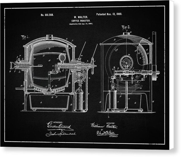 Vintage Coffee Roaster Patent, 1900 - Canvas Print from Wallasso - The Wall Art Superstore