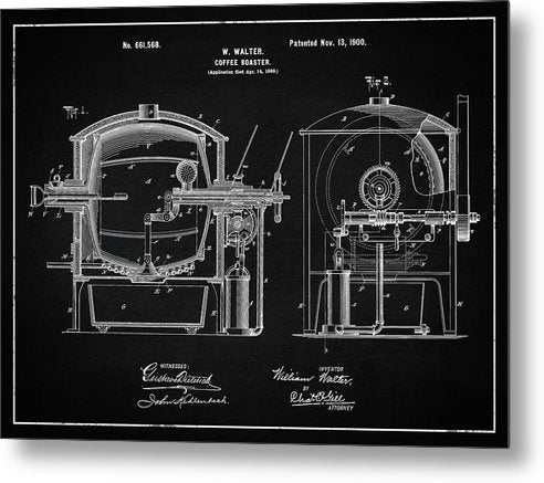 Vintage Coffee Roaster Patent, 1900 - Metal Print from Wallasso - The Wall Art Superstore