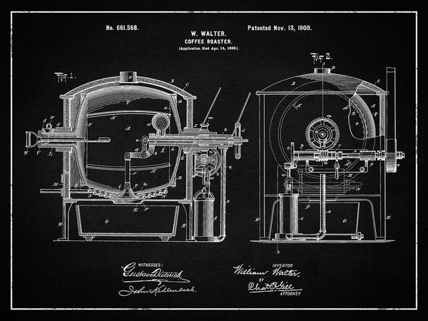 Vintage Coffee Roaster Patent, 1900 - Art Print from Wallasso - The Wall Art Superstore