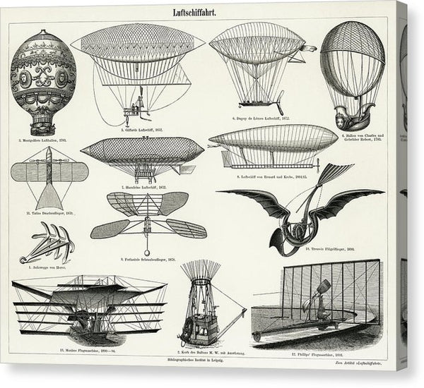Vintage Collection of Early Flying Machines - Canvas Print from Wallasso - The Wall Art Superstore
