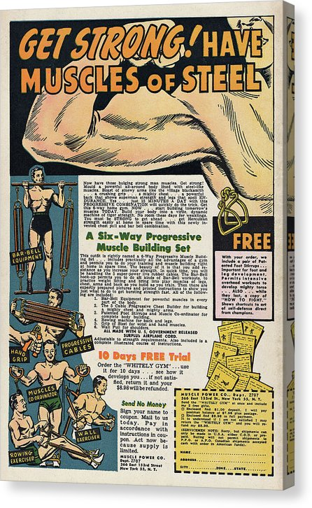 Vintage Comic Book Bodybuilding Advertisement - Canvas Print from Wallasso - The Wall Art Superstore