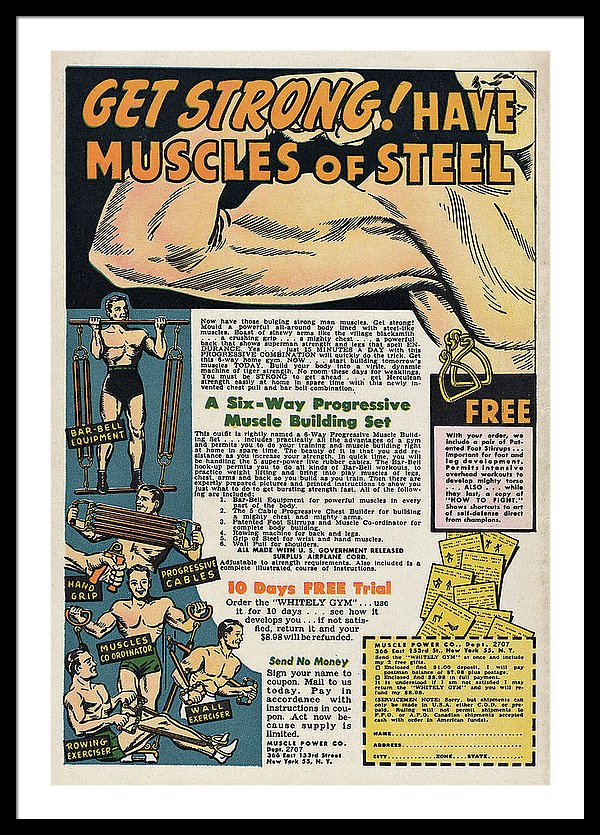 Vintage Comic Book Bodybuilding Advertisement - Framed Print from Wallasso - The Wall Art Superstore