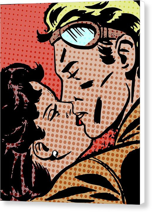 Vintage Comic Book Kiss - Canvas Print from Wallasso - The Wall Art Superstore