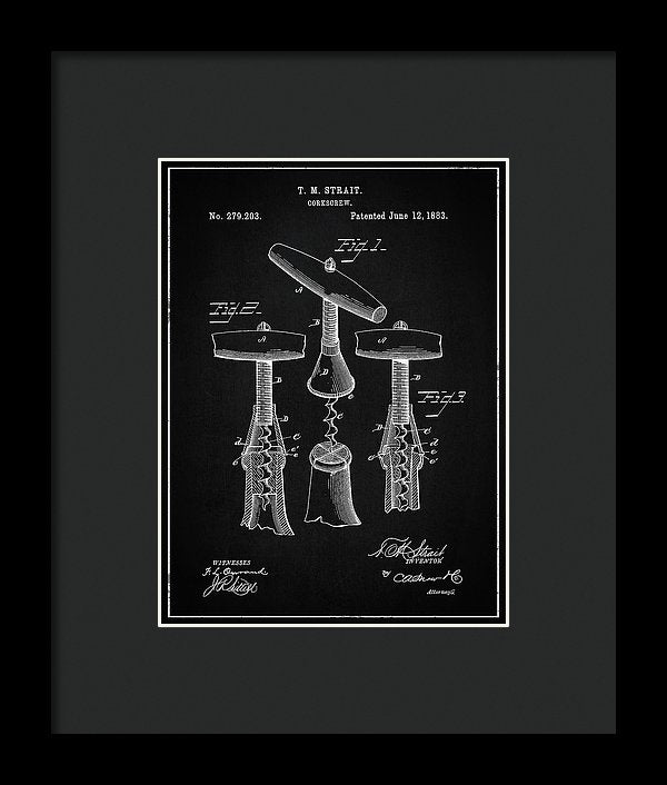 Vintage Corkscrew Patent, 1883 - Framed Print from Wallasso - The Wall Art Superstore