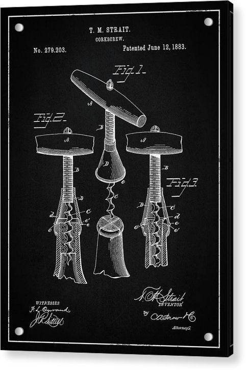 Vintage Corkscrew Patent, 1883 - Acrylic Print from Wallasso - The Wall Art Superstore