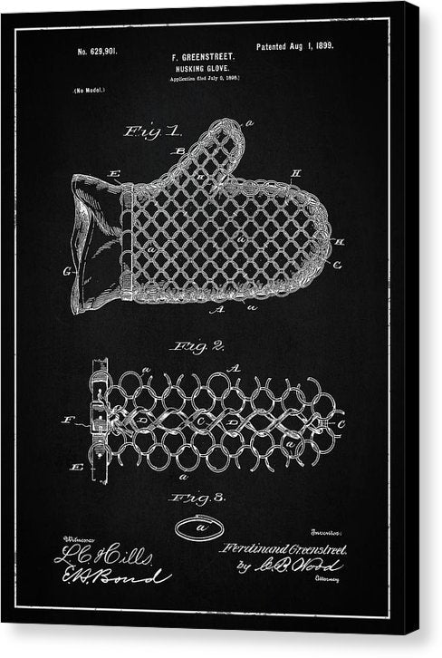 Vintage Corn Husking Glove Patent, 1899 - Canvas Print from Wallasso - The Wall Art Superstore