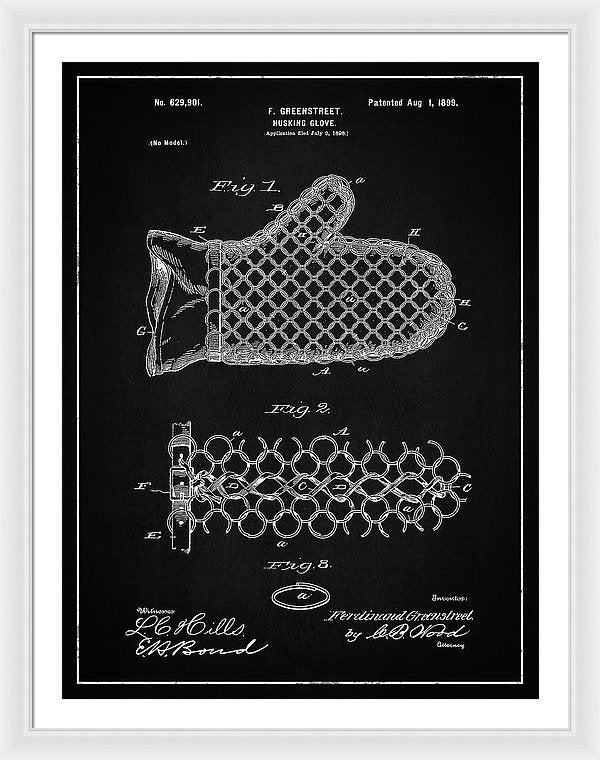 Vintage Corn Husking Glove Patent, 1899 - Framed Print from Wallasso - The Wall Art Superstore