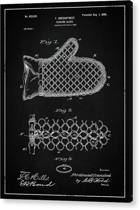 Vintage Corn Husking Glove Patent, 1899 - Acrylic Print from Wallasso - The Wall Art Superstore
