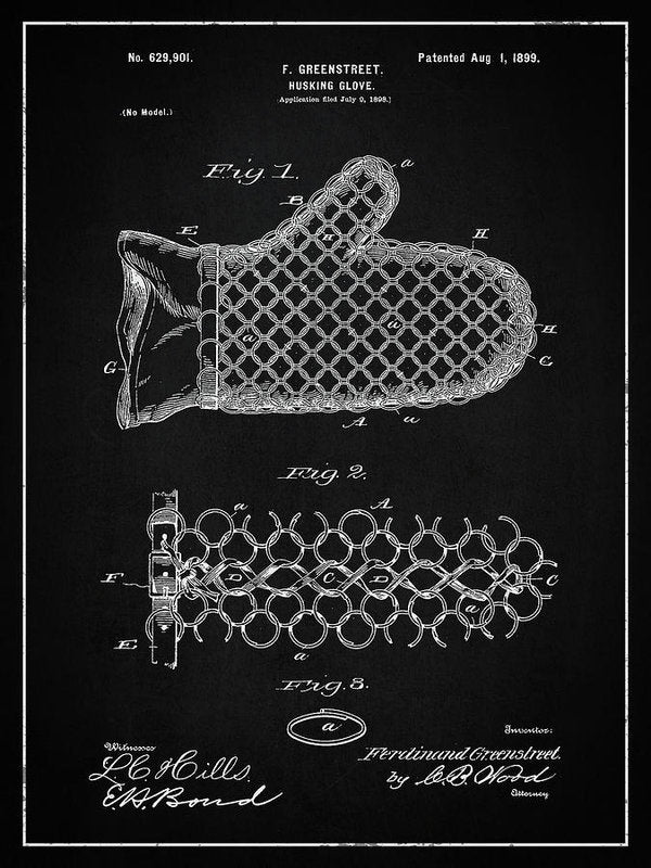 Vintage Corn Husking Glove Patent, 1899 - Art Print from Wallasso - The Wall Art Superstore