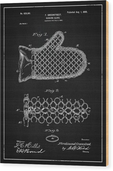 Vintage Corn Husking Glove Patent, 1899 - Wood Print from Wallasso - The Wall Art Superstore