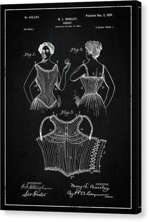 Vintage Corset Patent, 1899 - Canvas Print from Wallasso - The Wall Art Superstore