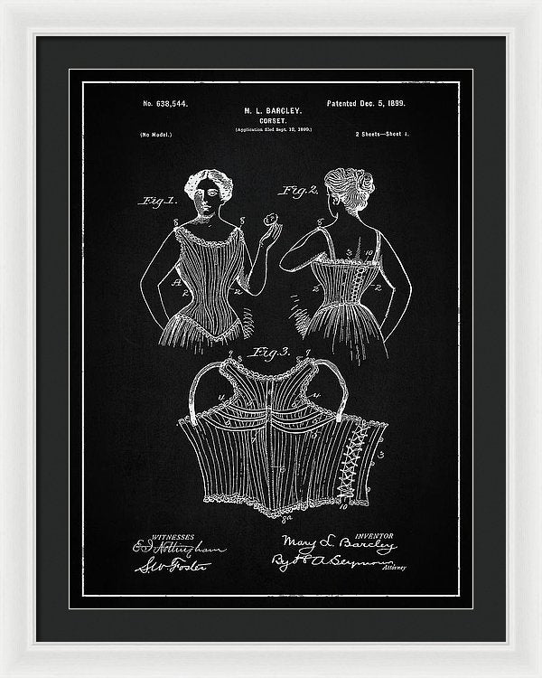 Vintage Corset Patent, 1899 - Framed Print from Wallasso - The Wall Art Superstore