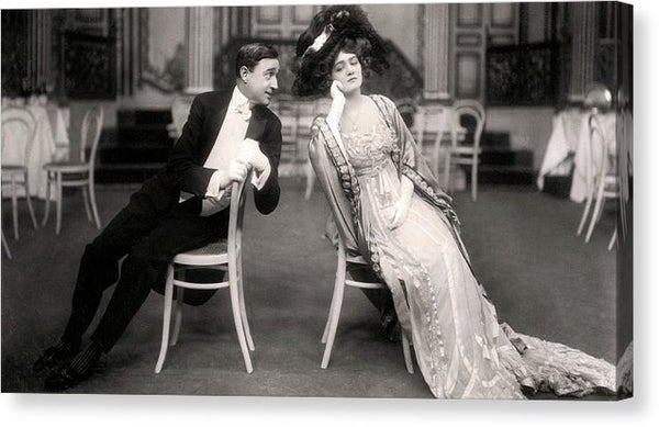 Vintage Couple In Fancy Dress - Canvas Print from Wallasso - The Wall Art Superstore