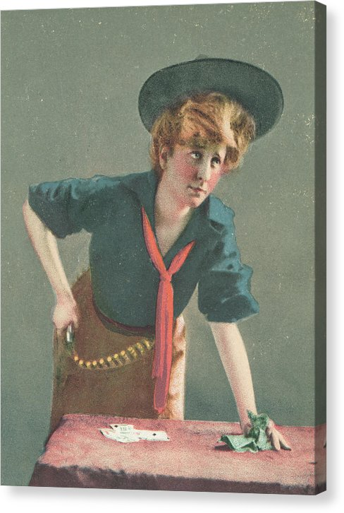 Vintage Cowgirl Gambling With Gun, 4 of 4 Set - Canvas Print from Wallasso - The Wall Art Superstore