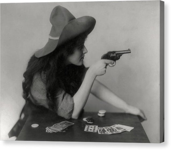 Vintage Cowgirl Gambling With Revolver, 1912 - Canvas Print from Wallasso - The Wall Art Superstore