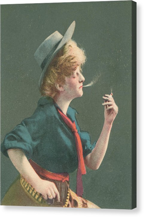 Vintage Cowgirl Smoking Cigarette, 3 of 4 Set - Canvas Print from Wallasso - The Wall Art Superstore