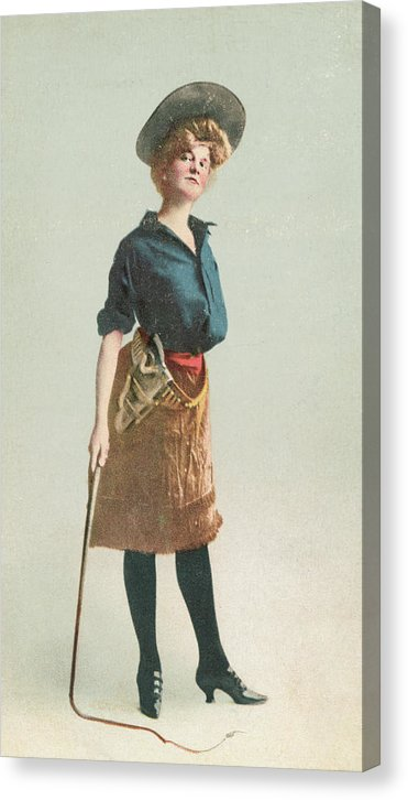 Vintage Cowgirl With Bull Whip, 1 of 4 Set - Canvas Print from Wallasso - The Wall Art Superstore
