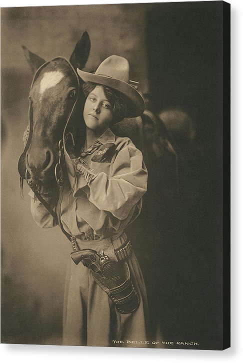 Vintage Cowgirl With Horse, 2 of 2 Set - Canvas Print from Wallasso - The Wall Art Superstore