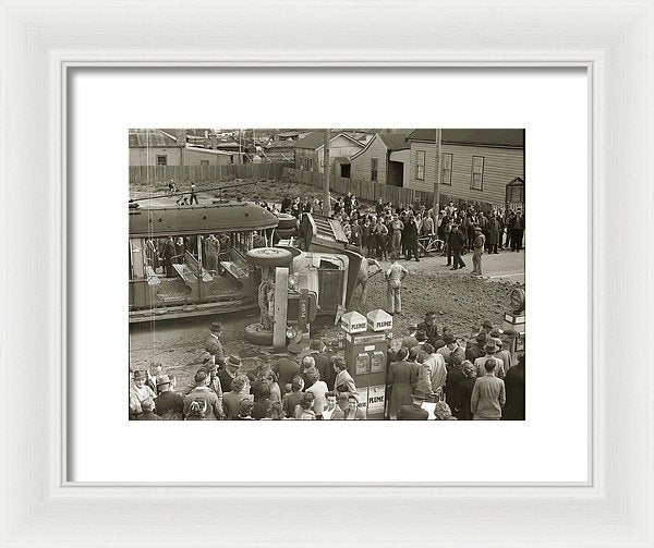 Vintage Crash Between Trolly and Dump Truck - Framed Print from Wallasso - The Wall Art Superstore