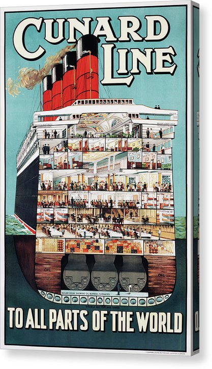 Vintage Cunard Line To All The Parts of The World Ship Poster - Canvas Print from Wallasso - The Wall Art Superstore