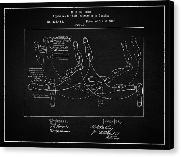 Vintage Dancing Instructions Patent, 1880 - Canvas Print from Wallasso - The Wall Art Superstore