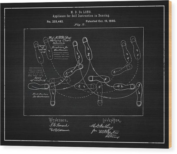 Vintage Dancing Instructions Patent, 1880 - Wood Print from Wallasso - The Wall Art Superstore