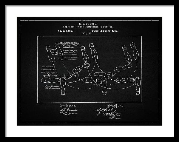Vintage Dancing Instructions Patent, 1880 - Framed Print from Wallasso - The Wall Art Superstore