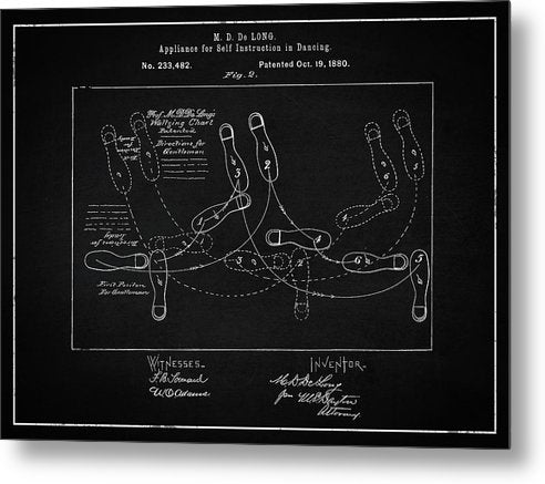 Vintage Dancing Instructions Patent, 1880 - Metal Print from Wallasso - The Wall Art Superstore
