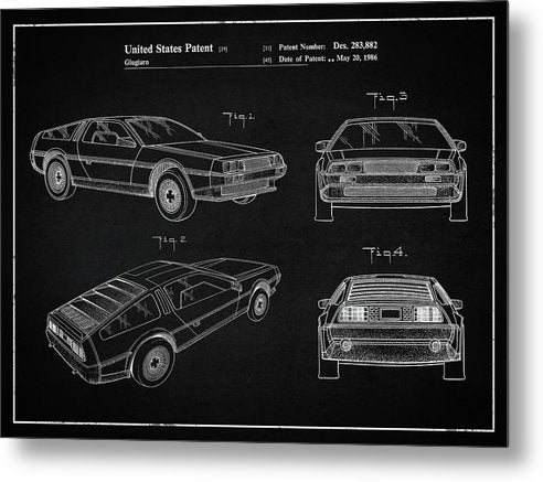 Vintage Delorean Patent, 1986 - Metal Print from Wallasso - The Wall Art Superstore