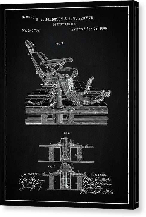 Vintage Dentist's Chair Patent, 1886 - Canvas Print from Wallasso - The Wall Art Superstore