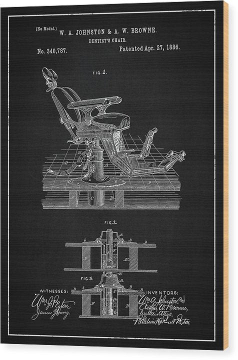 Vintage Dentist's Chair Patent, 1886 - Wood Print from Wallasso - The Wall Art Superstore