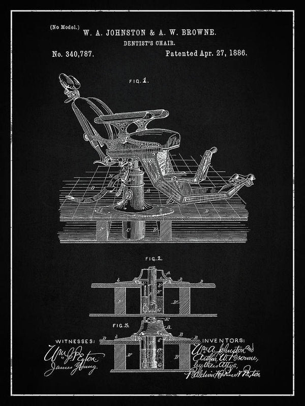 Vintage Dentist's Chair Patent, 1886 - Art Print from Wallasso - The Wall Art Superstore
