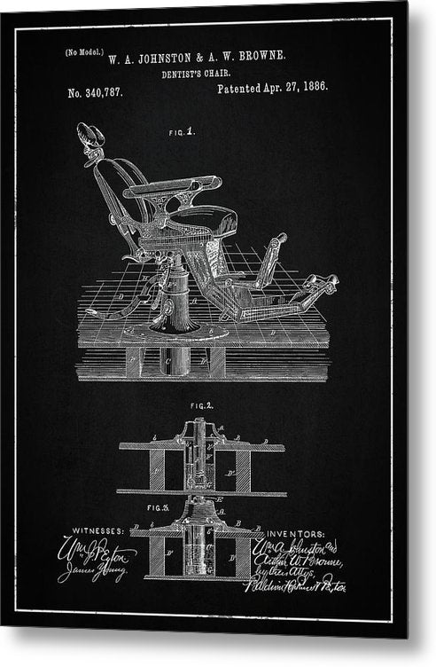 Vintage Dentist's Chair Patent, 1886 - Metal Print from Wallasso - The Wall Art Superstore